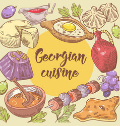 Hand drawn georgian food design georgia cuisine vector