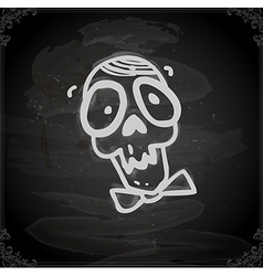 Hand drawn skull with a bowtie vector