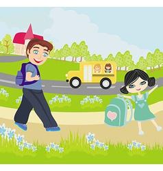 happy kids go to school vector image vector image