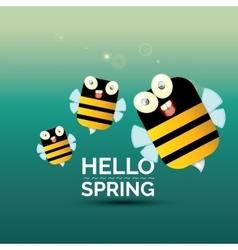 Hello spring cartoon cute bright baby bee icon vector image