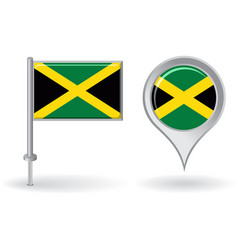 Jamaican pin icon and map pointer flag vector