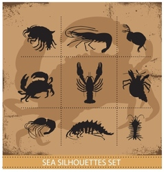 lobsters and crabs silhouettes signs vector image