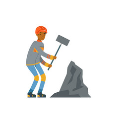 male miner in uniform working with hammer vector image vector image