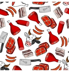 Meat cuts seamless pattern for butcher shop design vector image vector image