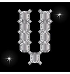 Metal letter V Gemstone Geometric shapes vector image