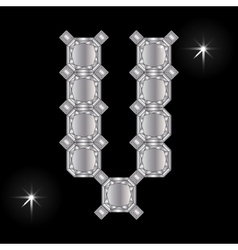Metal letter v gemstone geometric shapes vector