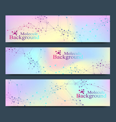 Modern set of banners molecule dna and vector