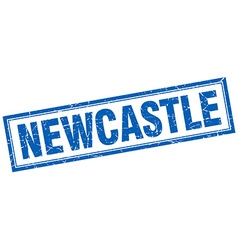 Newcastle blue square grunge stamp on white vector