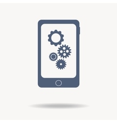 phone with gears and cogs Flat icon One of set vector image vector image
