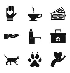 Psychological help icons set simple style vector