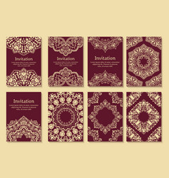 Set of wedding invitations and vector