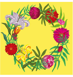 Summer floral design with yellow background vector