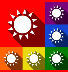 Sun sign set of icons with vector