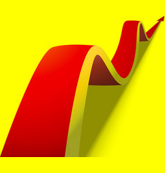 wavy red arrow on yellow background vector image vector image