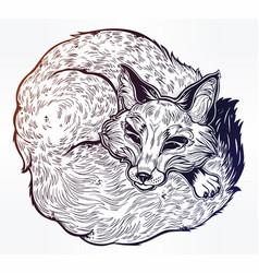 wild sleeping fox line art vector image vector image