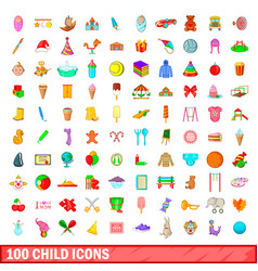 100 child icons set cartoon style vector