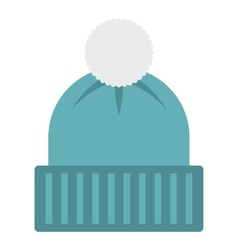 Winter hat with bell icon flat style vector
