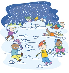 Kids playing snowballs vector