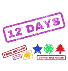 12 days rubber stamp vector