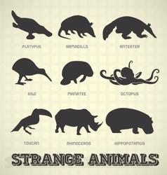 Strange and Odd Animal Silhouettes vector image