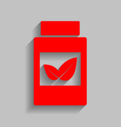Supplements container sign  red icon with vector