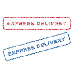 Express delivery textile stamps vector