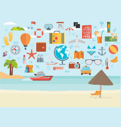 travel vacation flat design set concept travel vector image