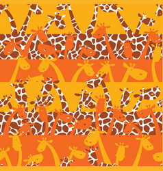 Cute giraffes with skin texture vector