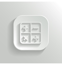Calculator icon - white app button vector image