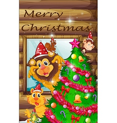 A decorated christmas tree surrounded with animals vector