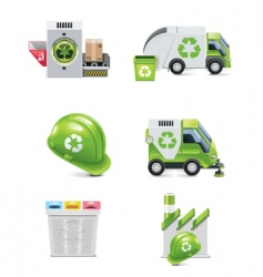 trash recycling icon set vector image