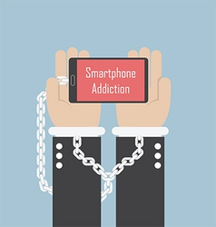 Businessman hands with smartphone and shackle sma vector