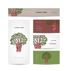 Business cards design green tree in pot vector