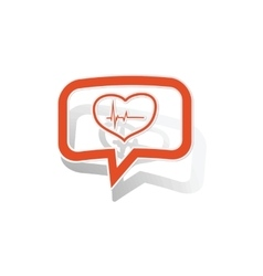 Cardiology message sticker orange vector