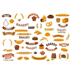Bakery and pastry elements for design vector