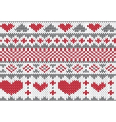Knitted pattern with hearts vector