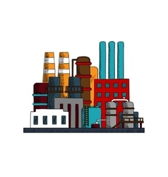 Industrial refinery factory buildings set vector
