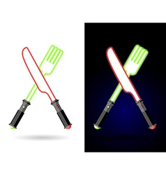 Lightsaber as cutlery Shiny knife and fork vector image