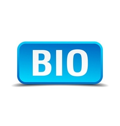 Bio blue 3d realistic square isolated button vector