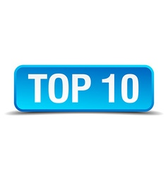 Top 10 blue 3d realistic square isolated button vector