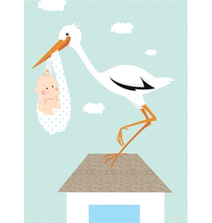 Stork and newborn baby on the roof vector