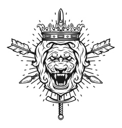 Vintage symbol of a lion head a crown vector image