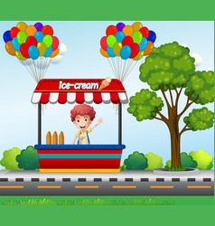 Boy selling icecream in the park vector