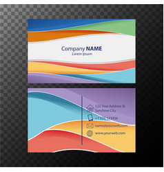 Businesscard template with colorful wavy lines vector