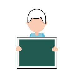 character teacher holding board class element vector image