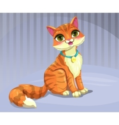 Cute cartoon red cat vector