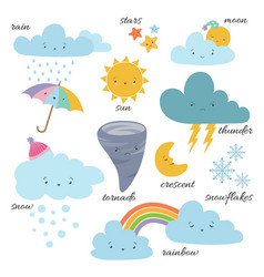 Cute cartoon weather icons forecast meteorology vector