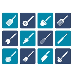 Flat different kind of kitchen accessories vector