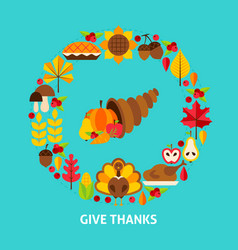 Give thanks postcard vector