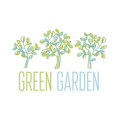 Green tree design element in hand drawn relaxed vector